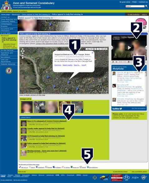 Screenshot von der Website der Polizei von Avon und Somerset