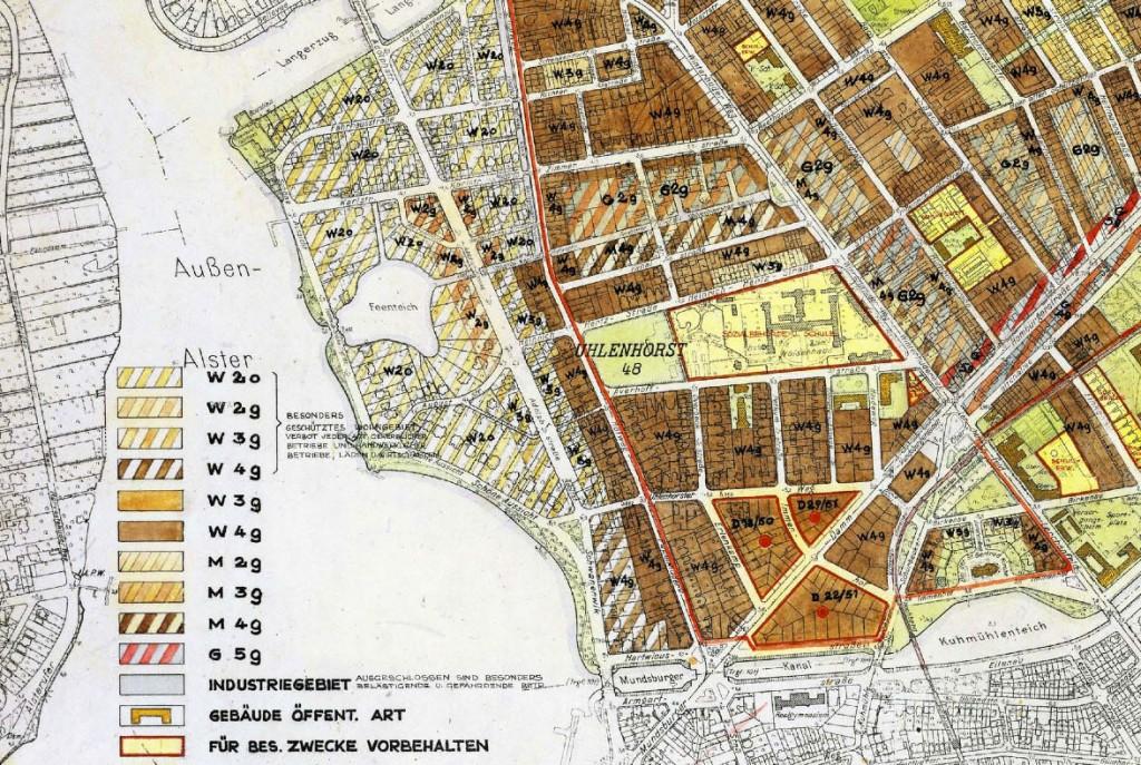 Handgezeichneter Bebauungsplan für Hamburg-Uhlenhorst