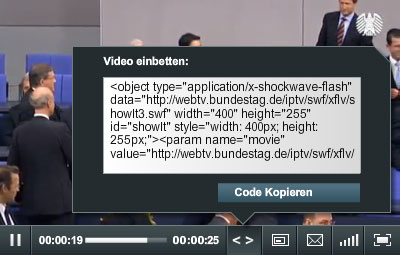 Video-Embedding auf bundestag.de