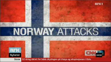 CNN-Bildschirm: Norway Attacks mit norwegischer Flagge