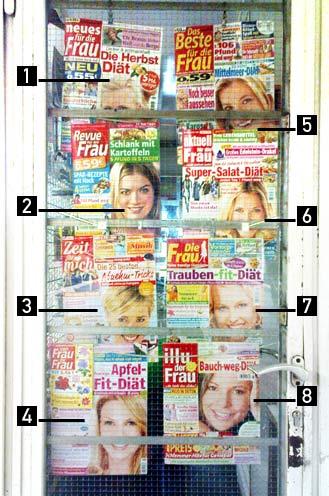 Titelbilder von acht Frauenzeitschrift