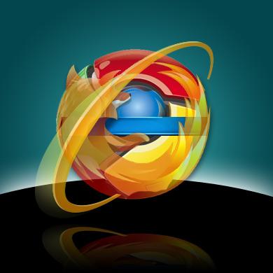 Logos von MSIE, Firefox und Chrome vor Netscape-Hintergrund