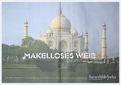 Indien-Anzeige: MAKELLOSES WEIB vor Taj Mahal