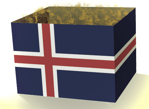 Kiste mit isländischer Flagge und goldenen Spuren