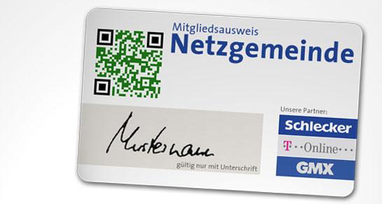 Mitgliedsausweis Netzgemeinde mit QR-Code