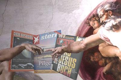 Michelangelos Erschaffung Adams mit Spiegel-, Stern- und Focus-Cover
