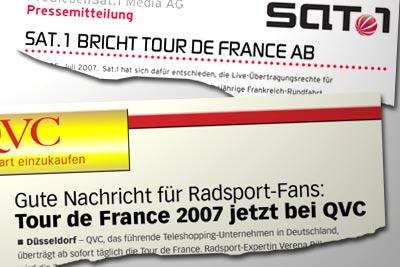 Sat.1 bricht Tour de France ab -- Gute Nachricht für Radsport-Fans: Tour de France 2007 jetzt bei QVC