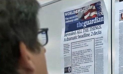 Guardian-Titelentwurf mit der Schlagzeile: Revealed: All the Things. A dramatic headline, 2 decks