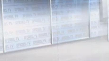 Schriftzug Spiegel TV auf der Studio-Deko