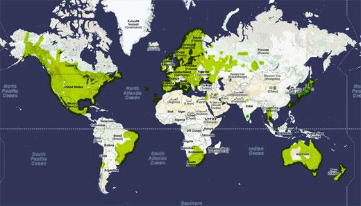 Weltkarte der von Street View abgedeckten Gebiete