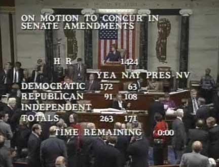 Einblendung bei US-Kongressabstimmung