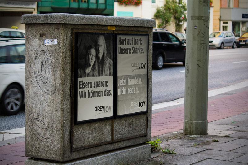 Stromkasten mit Greyjoy-Plakaten